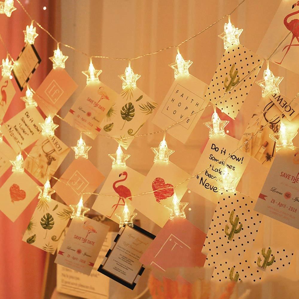fairy lights with photos to enhance decor