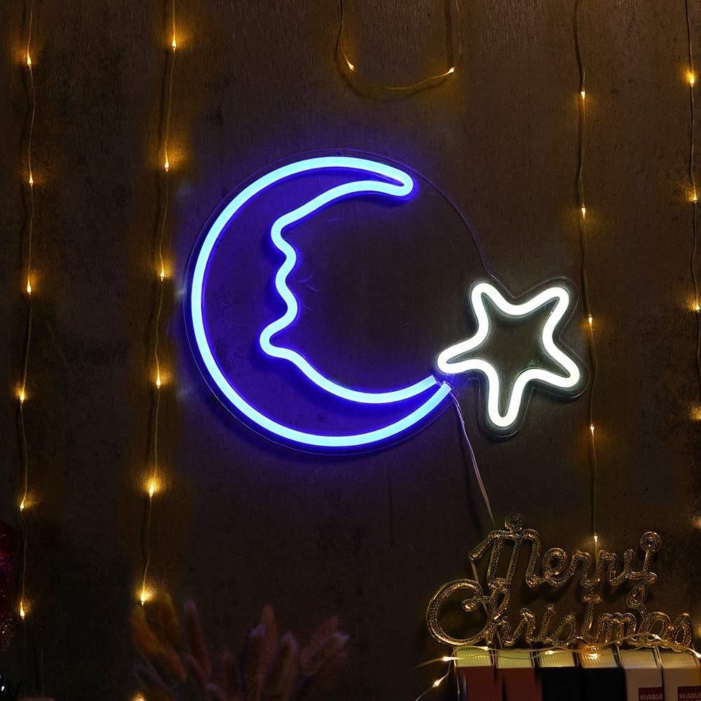 moon & star neon light