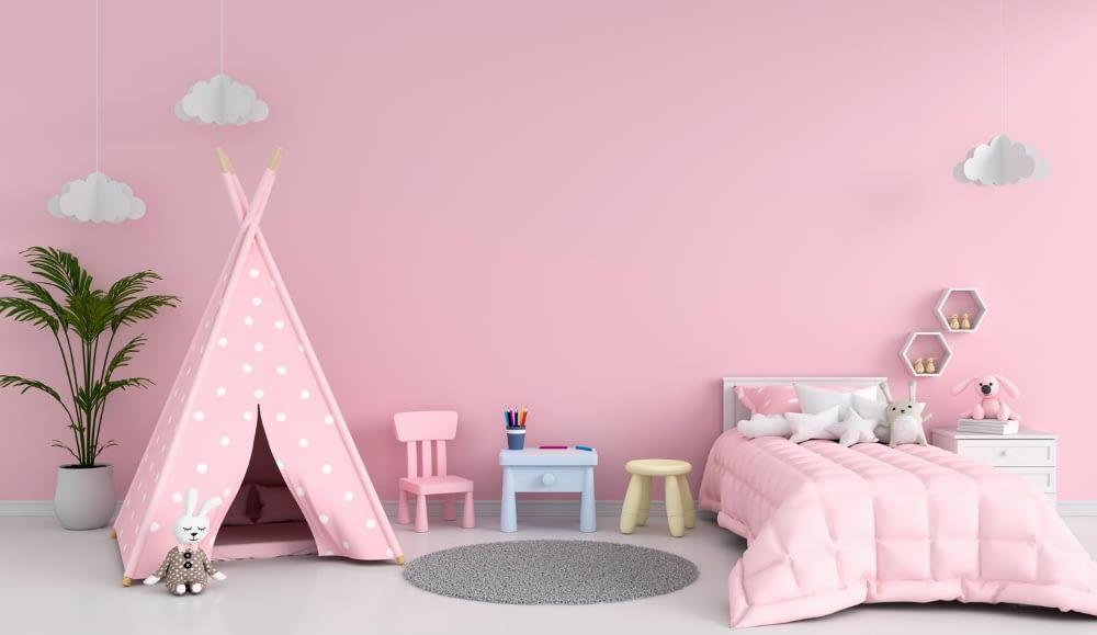 pink teepee in kids room to enhance kids' room decor