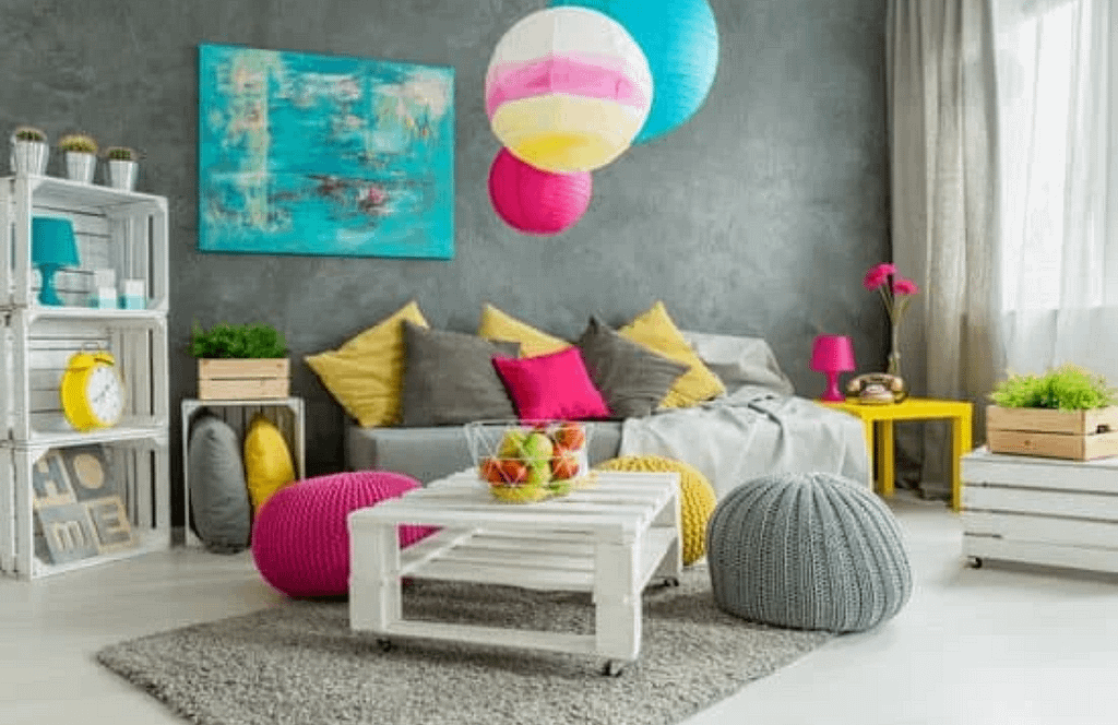 a room displaying colourful boho decor