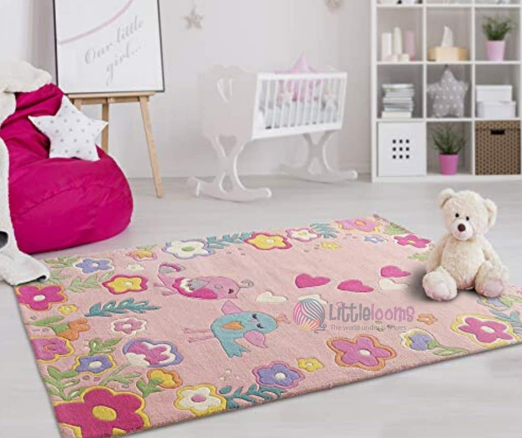 pink printed carpet in kids' room to enhance room decor
