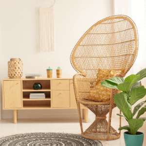 cane chair and cane lamp placed aesthetically in a room