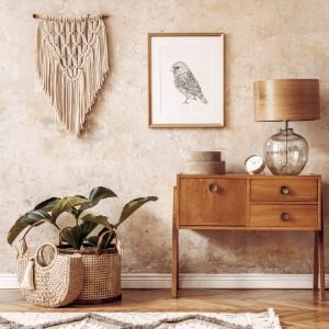 rattan basket and planter placed aesthetically in a room