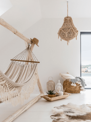 room decorated with natural materials: rattan, wicker, cane