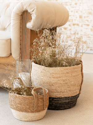 wicker baskets aesthetically arranged as part of cottagecore aesthetic