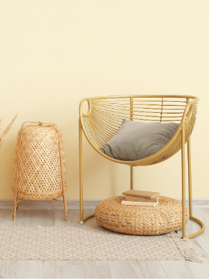 wicker lamp and cane chair