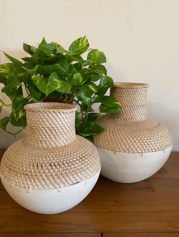 set of two white cane boho planters