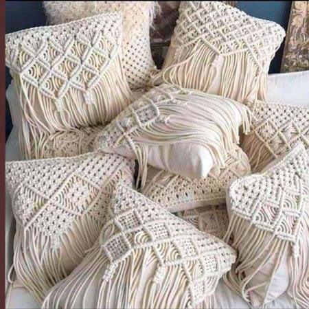 macrame cushion covers aesthetically arranged