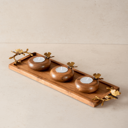 a wooden & metal tea light holder with three tea lights
