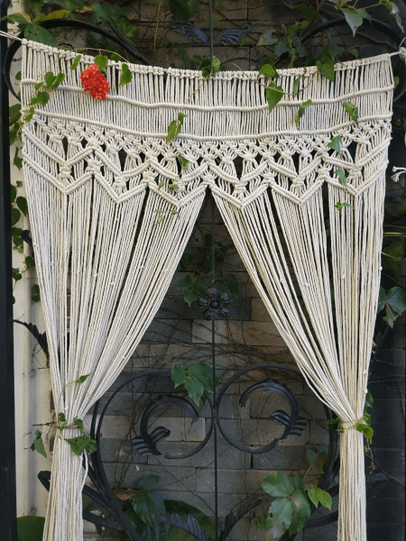 aesthetically displayed macrame curtain