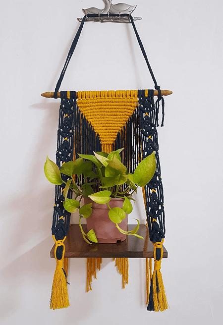 macrame wall hanging with a shelf and a plant