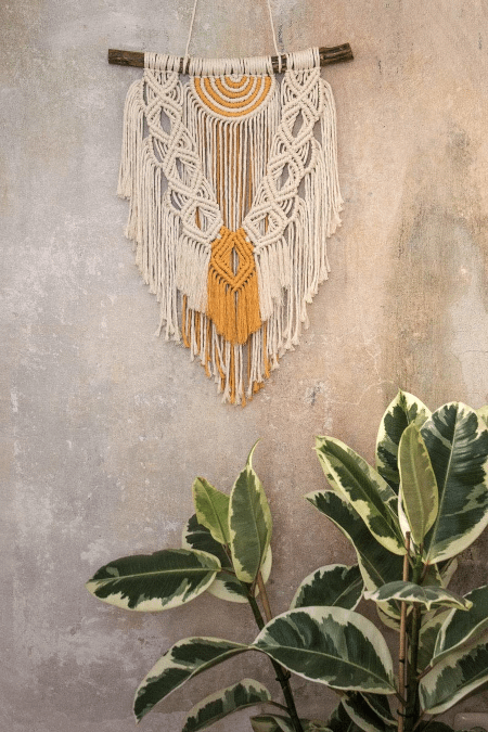 wall hanging on a wall and a plant