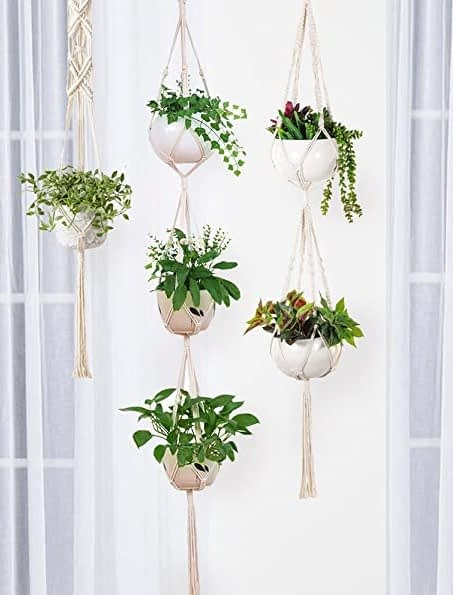macrame hanging planters to enhance decor of a room