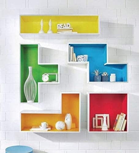 colored wall shelf to decorate a room