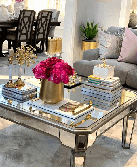 coffee table styled with books & candles