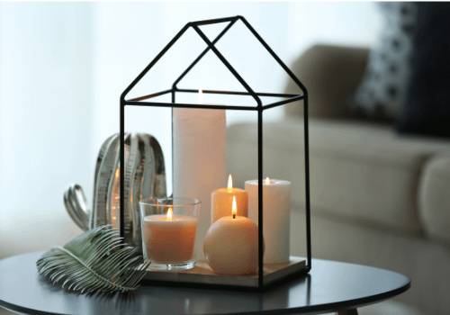 coffee table decor with candles