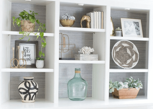 sculptural objects used in shelf styling