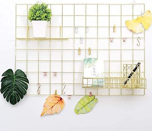 metallic wall grid to organize stuff