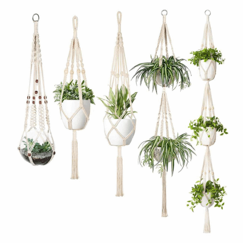 a cluster of hanging planters