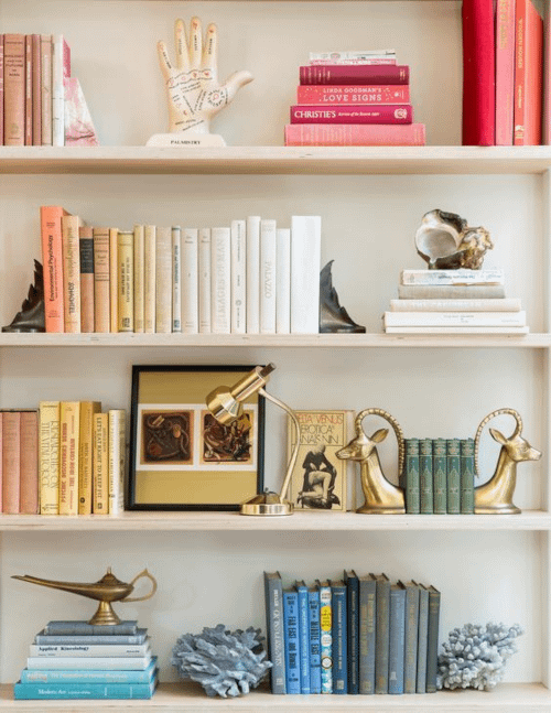 shelf styling with colour blocked books