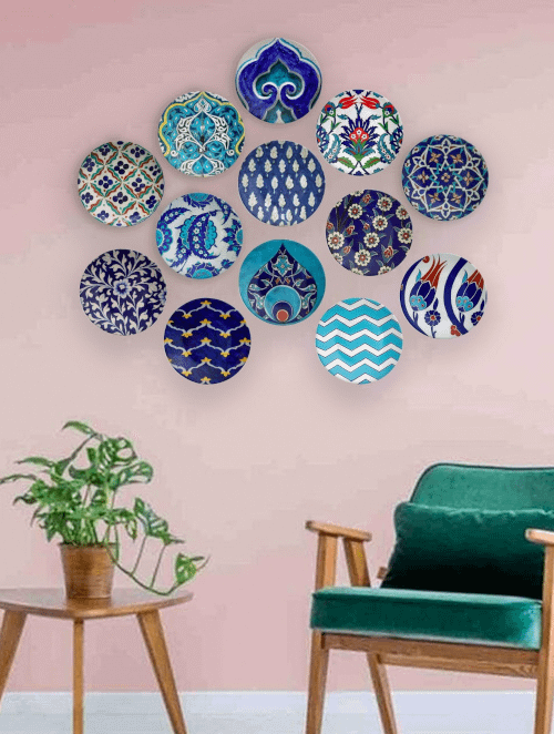 bohemian wall plates arranged to achieve boho decor