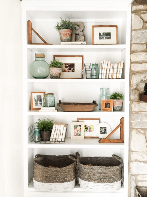 greenery in shelf styling