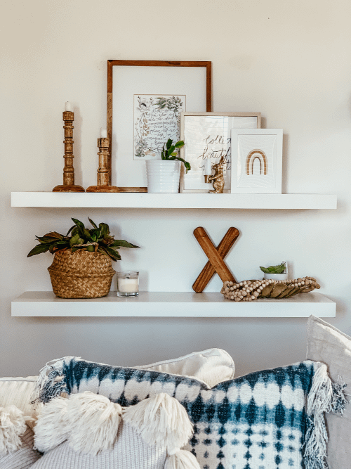shelf styling with layered frames