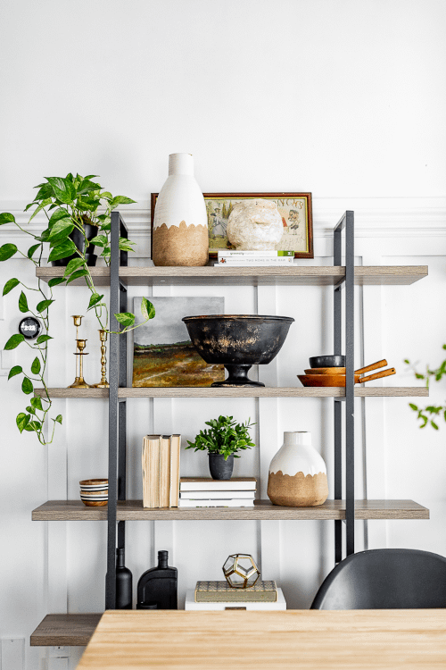 a balanced shelf styling