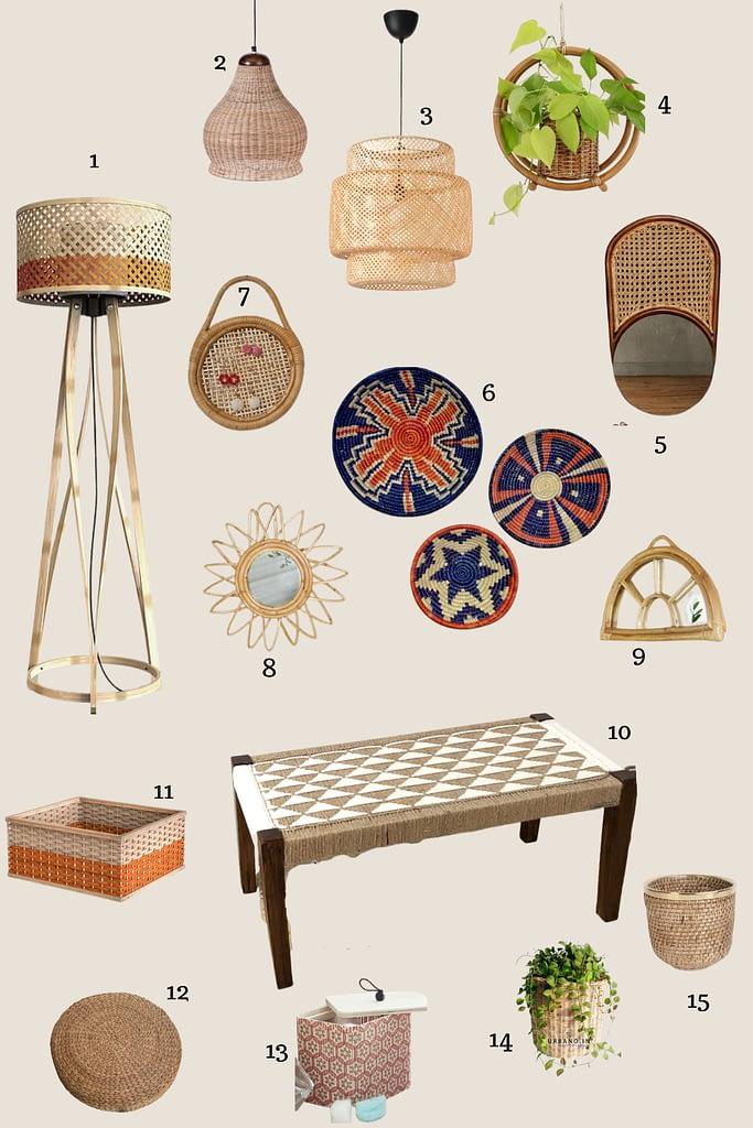 wicker bamboo rattan jute home accessories mood board