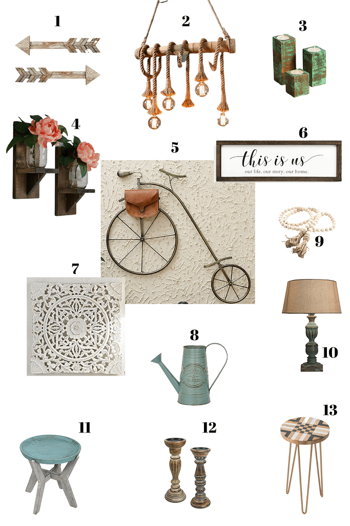 mood board for a modern farmhouse style living room
