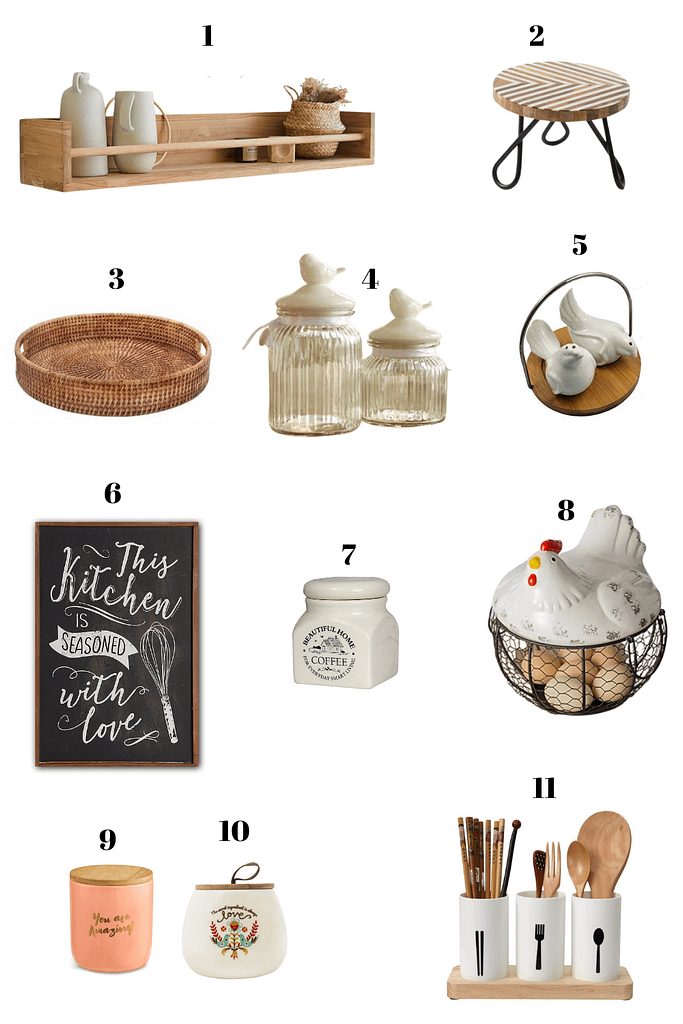 mood board showing modern farmhouse style accessories for kitchen and dining room