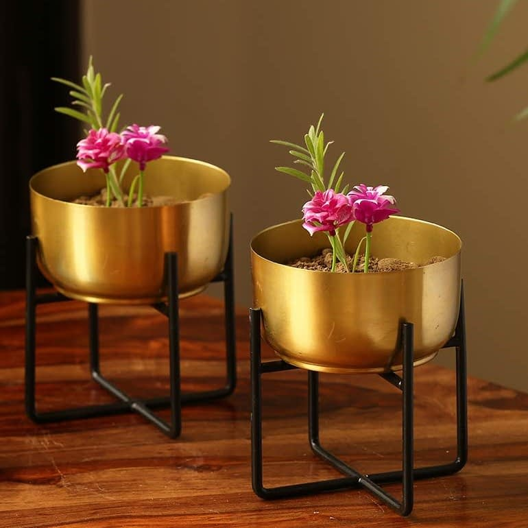 brass planters on a table to enhance decor of the room