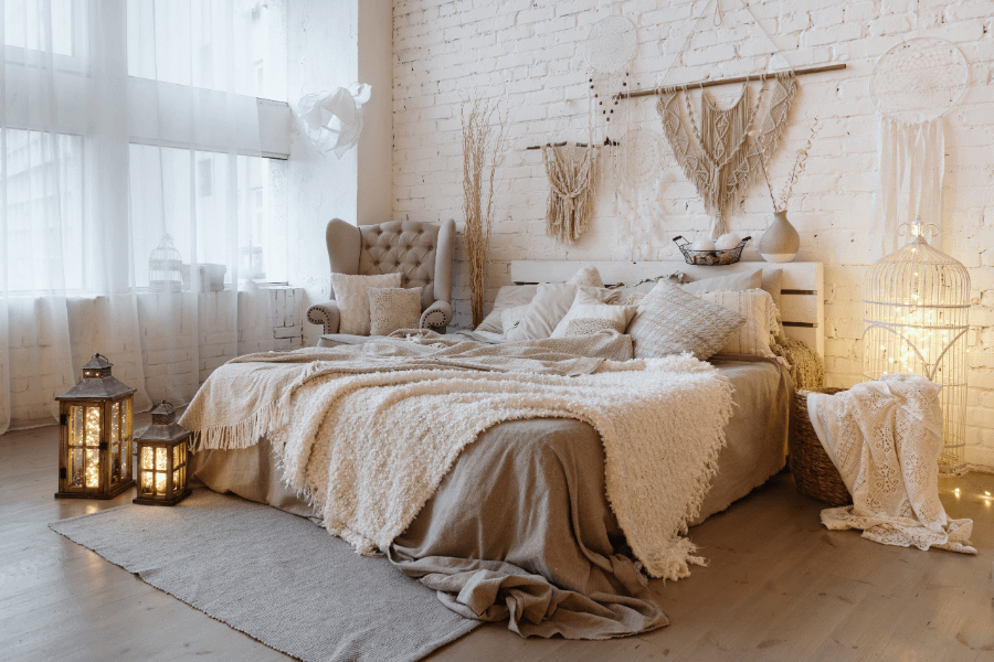 neutral bedroom depicting a cottagecore aesthetic