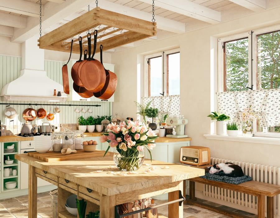 cottagecore kitchen with vintage elements