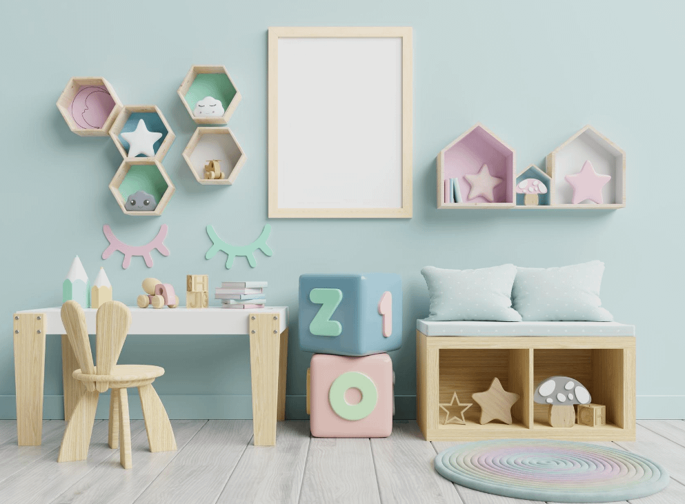 hexagonal wall shelves placed on wall to enhance home decor